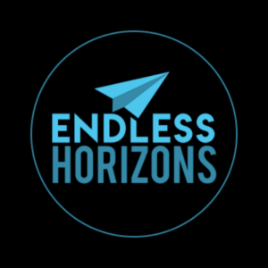 Endless Horizons logo Black Background text with paper plane in a roundel